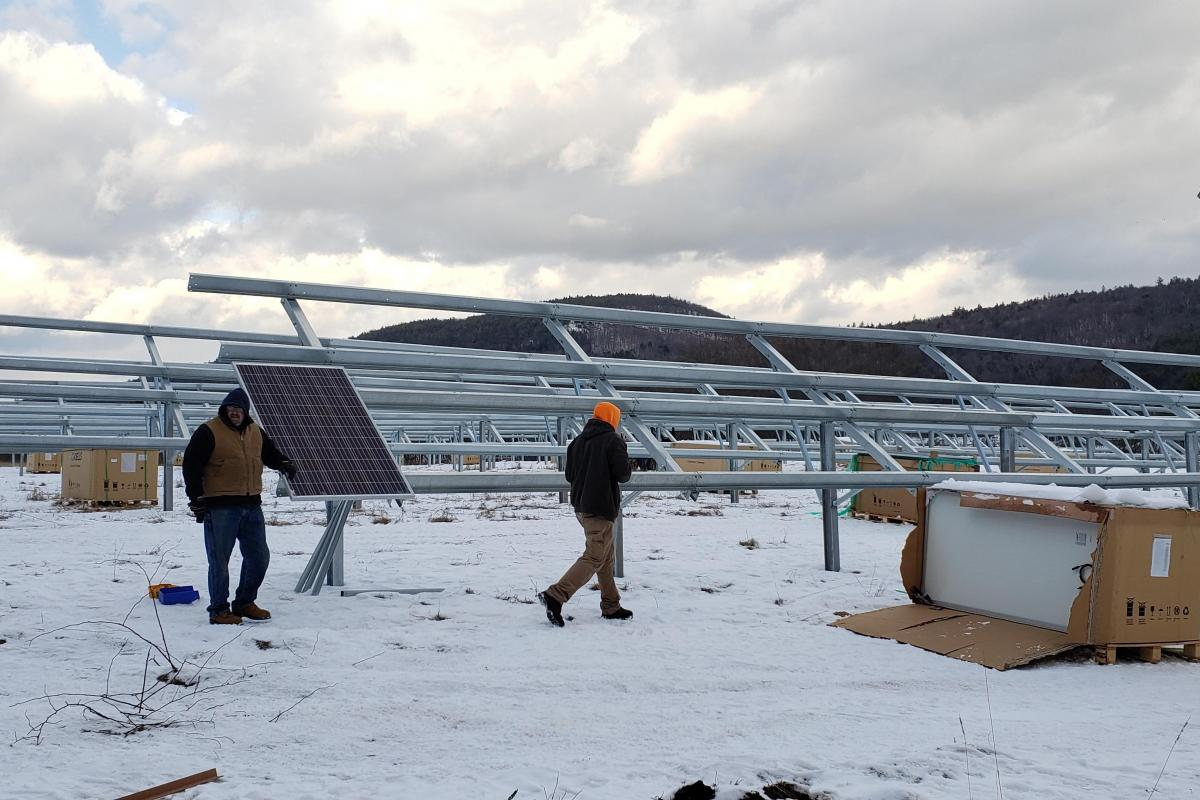 Installation of New Solar Arrays Underway!  First Panel Installed!  Photo by:  Todd Cartier, 1/08/2020